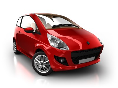 Small red compact car