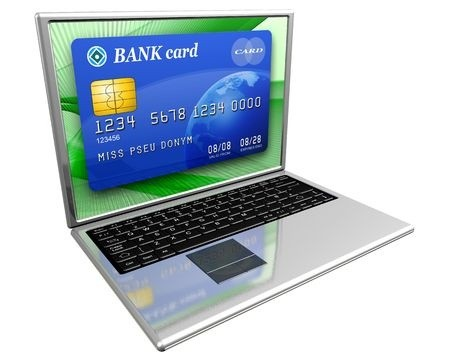 Blue bank credit card on laptop screen
