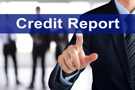 Business man touching credit report tab on virtual screen