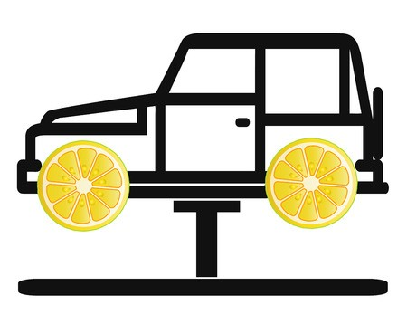 Car sketch with lemons for wheels