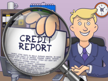Illustration of credit report on paper in mans hand through magnifying lens