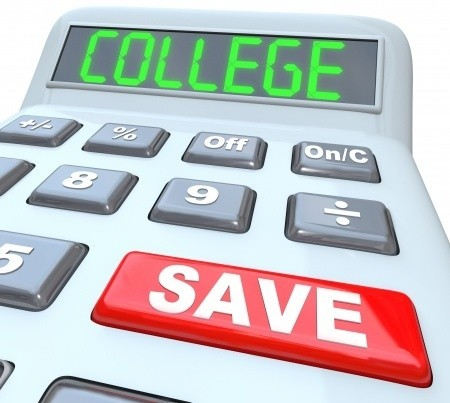 College calculator with big red savings button