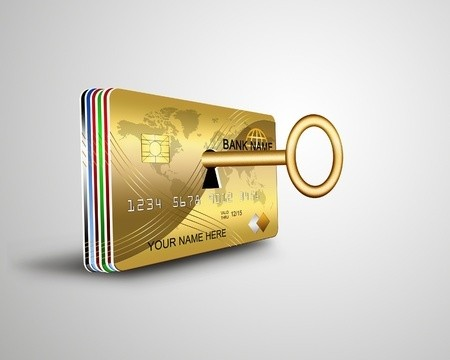 Gold credit card with key lock