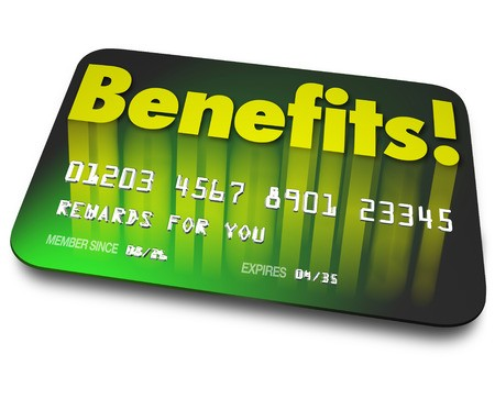 Green credit card with Benefits written on it