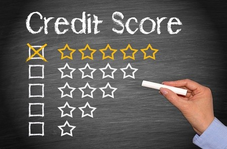 5 star credit score on chalk board