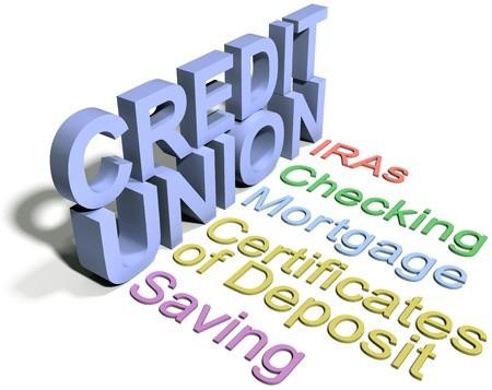 Credit Union text - IRAs, Checking, Mortgage, COD, Saving