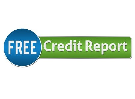 Free credit report button green and blue horizontal