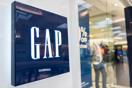 Gap storefront with logo near entrance