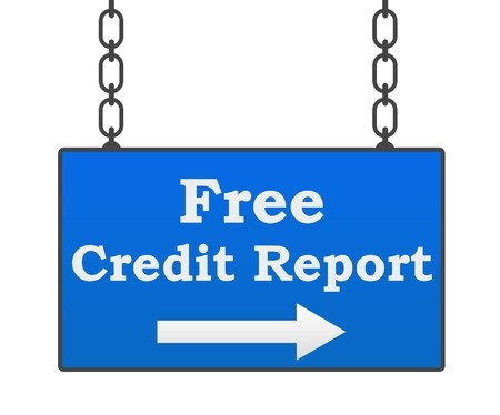 Hanging free credit report sign with right arrow