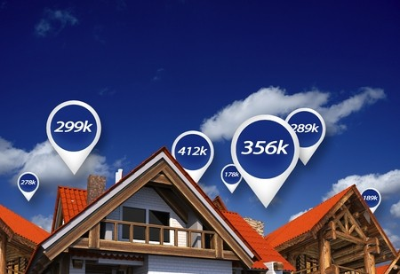 Housing market with price bubbles above houses in sky