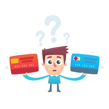 Man holding two credit card options