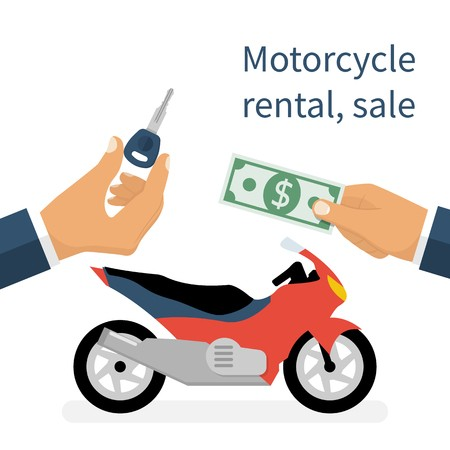 Motorcycle rental or sale with cash and key exchange