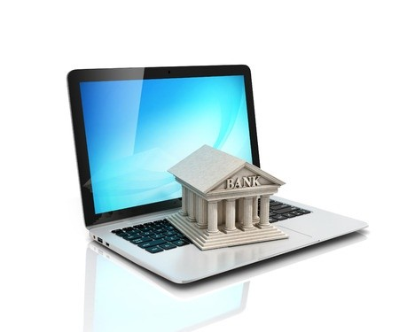 Online bank and laptop computer