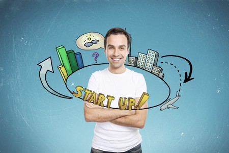 Man with business idea circled by startup companies