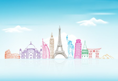 World famous landmarks known for vacation travel and tourism