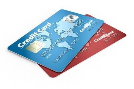 One red and one blue credit card