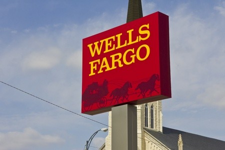 Wells Fargo bank sign with blue sky and church in background